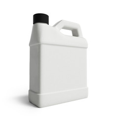 white plastic canister for motor oil isolated on white backgroun
