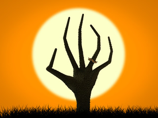 halloween concept with zombie hand rising on moon background