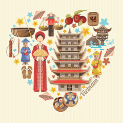 Travel to Vietnam. Set of traditional Vietnamese cultural symbols. Vietnamese landmarks and lifestyle of Vietnamese people