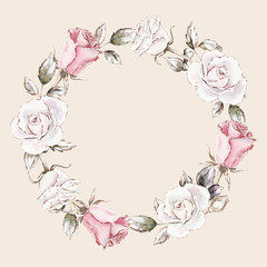 hand painted watercolor wreath mockup clipart template of roses