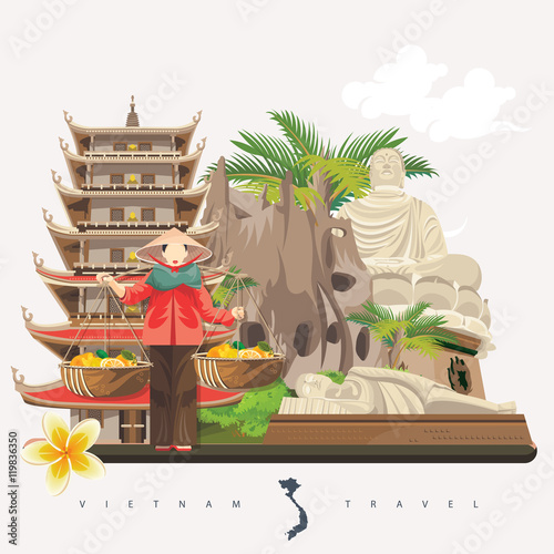Travel To Vietnam Set Of Traditional Vietnamese Cultural Symbols