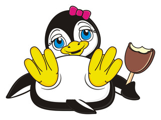 ice cream, dessert, icing, chocolate, cream, eat, food, girl, penguin, bird, zoo, animal, cartoon, profile, white, black, cute