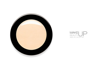 Single round makeup compact with powder foundation