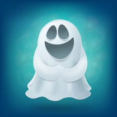 Laughing cartoon ghost on blue background. Halloween party design element