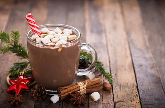 Christmas hot chocolate with marshmallow