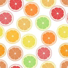 Seamless pattern background citrus. Wallpaper fruit. Vector tropical delicious. Sliced of lemon, orange and grapefruit.