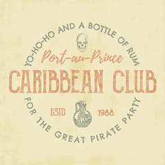 Vintage handcrafted label, emblem. Caribbean club logo template. Sketching filled style. Pirate and sea symbols - old rum bottle, pirate skull. Retro stamp and patch. For tee design, prints. Vector