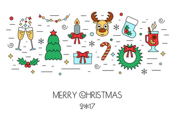 Christmas colorful isolated concept from linear icons. Flat design. Vector