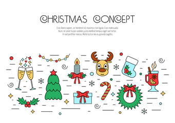 Christmas and New Year colorful isolated concept from linear icons. Flat design. Vector