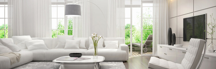 White living room with terrace