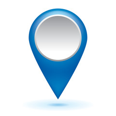 Blue glossy map point symbols, arrow web icon, vector design