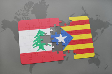puzzle with the national flag of lebanon and catalonia on a world map background.