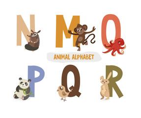 illustration with letters and animals. book for children. ABC. N