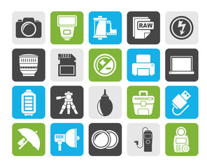 Silhouette Camera equipment and photography icons - Vector Icon Set