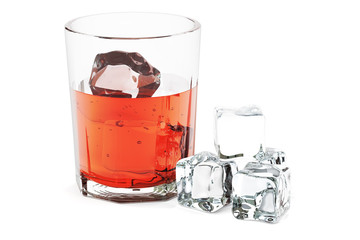 Glass with alcohol drink and ice, 3D rendering