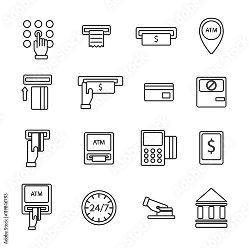 Finance atm and business vector payment card icon set atm icons finance atm and business vector payment card icon set atm icons exchange technology payment machine reheart Gallery