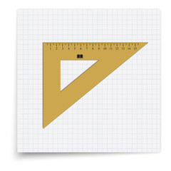 Triangle ruler lying on the sheet of paper. Student supplies image. Top view illustration.