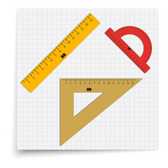 Set of ruler, triangle and a protractor lying on the sheet of paper. Student supplies image. Top view illustration.