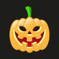 Halloween pumpkin smiling. Drawn with 3D effect.