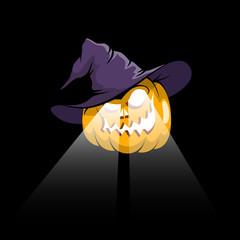 Halloween pumpkin jack-o-lantern in witch hat with eyes spotlights on a dark background. Vector illustration.