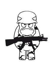 war, soldier, kill weapon gun army army shoot thick funny comic cartoon sweet little cute baby hippo happy child