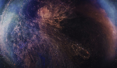 Abstract Nebula With Colored Gas And Stars