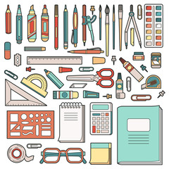 School stationery. Set of office objects. Vector illustration.