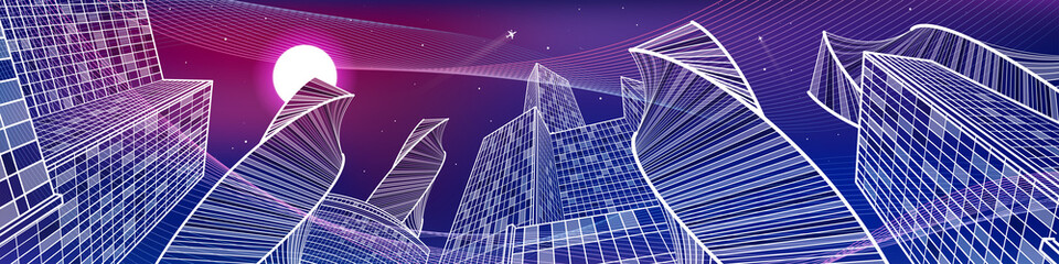 Wall Mural - Business building, night city panorama, urban scene, infrastructure illustration, neon waves, modern architecture, skyscrapers, airplane flying, vector design art