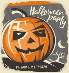 Halloween pumpkin on old paper background