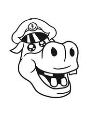 head face seahorse sailor seaman ship boat sailing swim captain sweet little cute baby hippo happy child