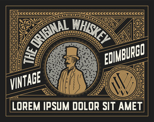 Whiskey label with old ornaments. Vector layered
