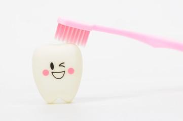 Pink toothbrush bushing smile teeth, Healthcare concept