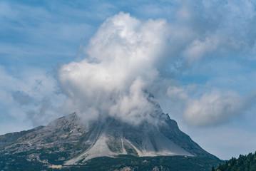 Snowy peak in mountains