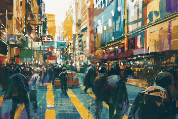 people walking in colorful of city street,illustration painting Wall mural