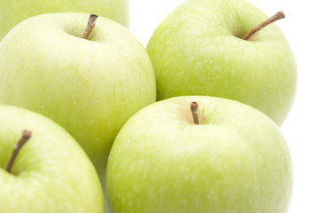 Juicy green apples