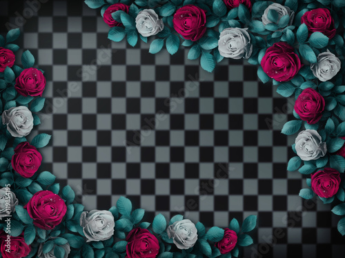 Alice in Wonderland. Red roses and white roses on chess background ...