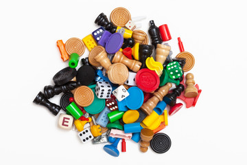 A pile of miscellaneous game pieces