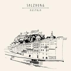 Salzburg, Salzburger Land, Austria, Europe. Festung Hohensalzburg castle, church, houses,  Salzach river. Hand drawing. Travel sketch. Vintage touristic postcard, poster or book illustration