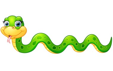 Happy green snake cartoon