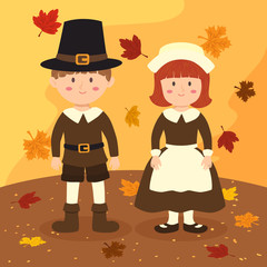 Vector illustration of thanksgiving greeting card with a boy and a girl with costume on autumn background