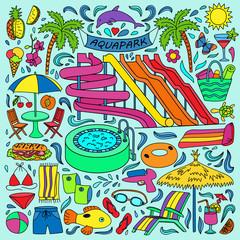 Aquapark colorful doodle set