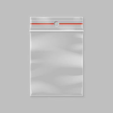 empty transparent plastic zipper bag with hang slot