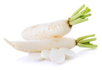 White radishes isolated on white background