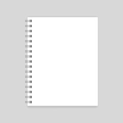 Blank realistic spiral notebook mockup