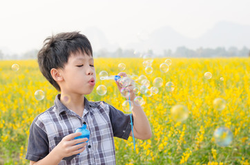 Young Asian boy blowing bubbles in flower field
