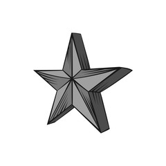 Big star icon in black monochrome style isolated on white background. Figure symbol. Vector illustration