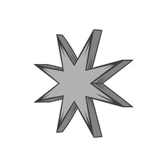 Eight pointed star icon in black monochrome style isolated on white background. Figure symbol. Vector illustration