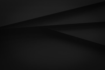 black stack paper material layer background 3d render