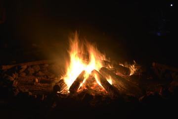 dağcı kamp alanında  kamp ateşi