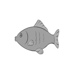 Fish icon in black monochrome style isolated on white background. Seafood symbol. Vector illustration